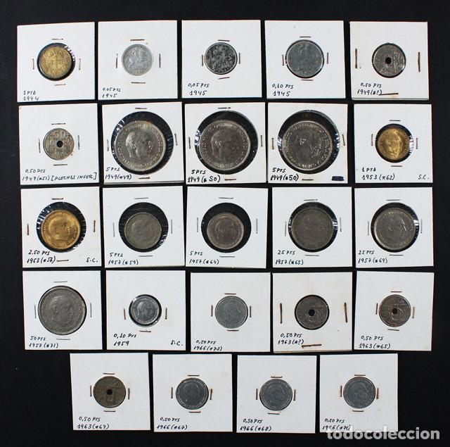 Monedas Franco: LOTE 22 MONEDAS DE FRANCISCO FRANCO 0,10 0,50 1 2,50 5 25 50 PESETAS ENCARTONADAS, VER RELACION - Foto 2 - 110048375