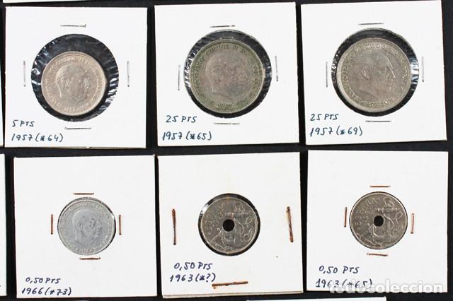 Monedas Franco: LOTE 22 MONEDAS DE FRANCISCO FRANCO 0,10 0,50 1 2,50 5 25 50 PESETAS ENCARTONADAS, VER RELACION - Foto 6 - 110048375