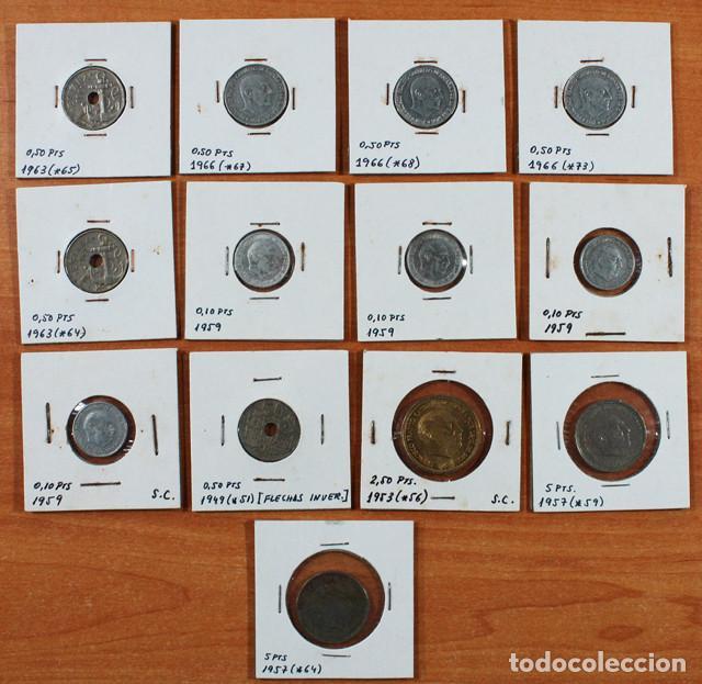 Monedas Franco: LOTE 13 MONEDAS DE FRANCISCO FRANCO 0,10 0,50 2,50 5 PESETAS ENCARTONADAS, VER RELACION Y FOTOS - Foto 3 - 110048555