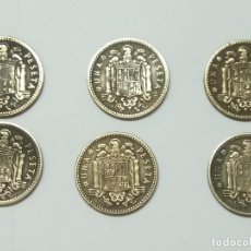 Monedas Franco: 6 MONEDAS DE 1 PESETA DE 1947 ESTRELLAS DISTINTAS . Lote 133646097