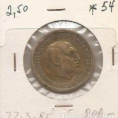Monedas Franco: ESPAÑA 1953. FRANCO. MONEDA DE 2,50 PESETAS 1953 *54. MBC. Lote 115236947