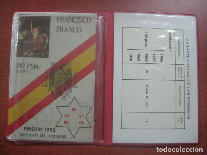 Monedas Franco: RARO ESTUCHE CON LAS 5 MONEDAS DE 100 PESETAS DE PLATA EMISION DE 1966, INCLUIDA EL 69 DE PALO RECTO - Foto 6 - 115465351
