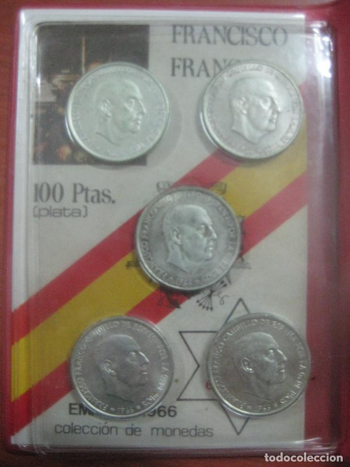 Monedas Franco: RARO ESTUCHE CON LAS 5 MONEDAS DE 100 PESETAS DE PLATA EMISION DE 1966, INCLUIDA EL 69 DE PALO RECTO - Foto 7 - 115465351