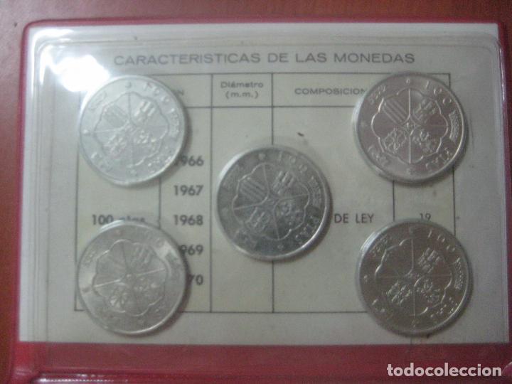 Monedas Franco: RARO ESTUCHE CON LAS 5 MONEDAS DE 100 PESETAS DE PLATA EMISION DE 1966, INCLUIDA EL 69 DE PALO RECTO - Foto 8 - 115465351