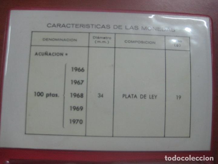 Monedas Franco: RARO ESTUCHE CON LAS 5 MONEDAS DE 100 PESETAS DE PLATA EMISION DE 1966, INCLUIDA EL 69 DE PALO RECTO - Foto 13 - 115465351