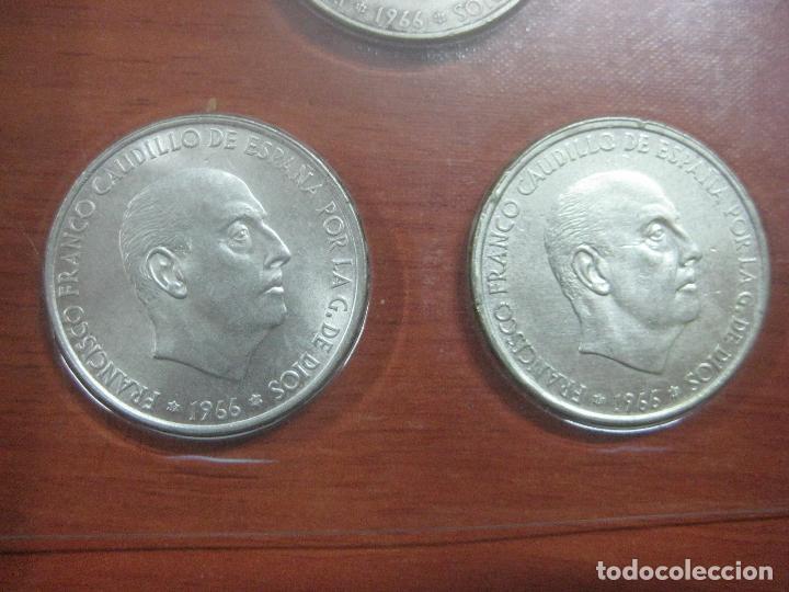 Monedas Franco: RARO ESTUCHE CON LAS 5 MONEDAS DE 100 PESETAS DE PLATA EMISION DE 1966, INCLUIDA EL 69 DE PALO RECTO - Foto 12 - 115465351