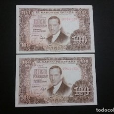 Monedas Franco: ESPAÑA - BILLETE-PAREJA DE 100 PESETAS 1953 ( SERIE 3T ) SC UNC ( G004 ). Lote 116376663