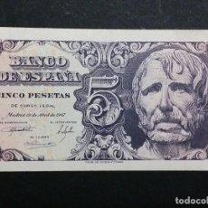 Monedas Franco: ESPAÑA - BILLETE- 5 PESETAS 1947 (SIN SERIE ) SC UNC ( G008 ). Lote 116388831