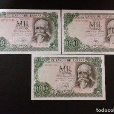 Monedas Franco: ESPAÑA - BILLETE-TRIO DE 1000 PESETAS 1971 ( SERIE 7B ) SC UNC ( G009 ). Lote 116389311