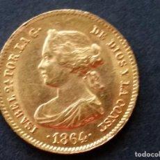 Monedas Franco: ESPAÑA -MONEDA- 40 REALES 1864 (CECA DE MADRID ) ISABEL LL ORO GOLD EBC ( G045 ). Lote 116625583