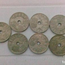 Monedas Franco: 7 MONEDAS DE 25 CTMS DEL AÑO 1937. Lote 173942345