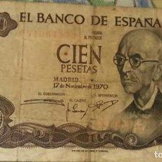 Monedas Franco: BILLETE 100 PESETAS NOVIEMBRE DE 1970. Lote 117233239
