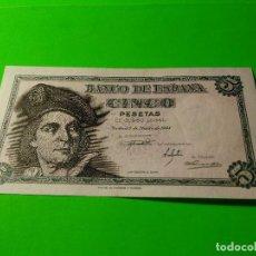 Monedas Franco: BILLETE 5 PESETAS. JUAN SEBASTIAN DE EL CANO. AUTENTICO. MUY BUENO. VER FOTOS VARIAS.. Lote 117606359