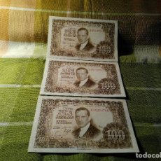 Monedas Franco: TRIO CORRELATIVOS BILLETES DE 100 PESETAS. JULIO ROMERO. 7.4.1953 N. SERIE 3 J. AUTENTICOS. DESCRIP.. Lote 118122239