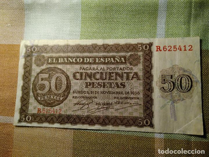 Monedas Franco: BILLETE 50 PESETAS. BANCO DE ESPAÑA. 21.11.1.936 R 625412 PERFECTO ESTADO. AUTENTICO. MBC+EBC- - Foto 2 - 118230515