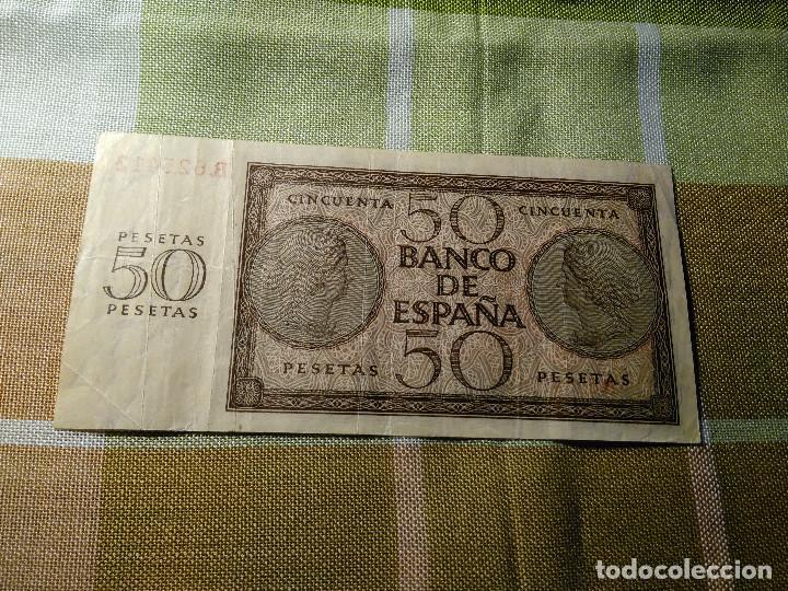 Monedas Franco: BILLETE 50 PESETAS. BANCO DE ESPAÑA. 21.11.1.936 R 625412 PERFECTO ESTADO. AUTENTICO. MBC+EBC- - Foto 3 - 118230515