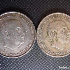 Monedas Franco: 100 PESETAS FRANCO 1966, 2 MONEDAS, 66 Y 68, VER . Lote 118805791