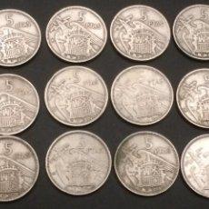 Monedas Franco: LOTE 12 MONEDAS DE 5 PESETAS 1957 DISTINTAS. Lote 119277127