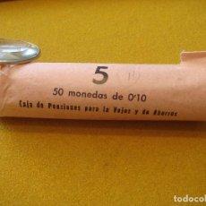 Monedas Franco: 10 CENTIMOS (1940-1953) JINETE IBERO - FRANCO - 50 MONEDAS ENVUELTAS EN PAPEL DE BANCO DE SU ÉPOCA.. Lote 119515355