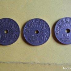 Monedas Franco: OFERTA. LOTE 3 MONEDAS ESPAÑA 25 CÉNTIMOS 1937. II AÑO TRIUNFAL. FRANCO. YUGO Y FLECHAS. FALANGE. Lote 119997659