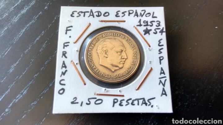 MONEDA DE 2,50 PESETAS DE 1953 ESTRELLA 54 DEL ESTADO ESPAÑOL EBC ENCARTONADA (Numismática - España Modernas y Contemporáneas - Estado Español)