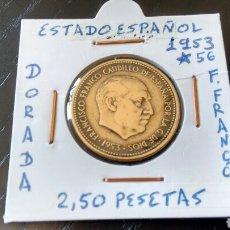 Monedas Franco: MONEDA DE 2,50 PESETAS DE 1953 ESTRELLA 56 DEL ESTADO ESPAÑOL EBC ENCARTONADA. Lote 171325160