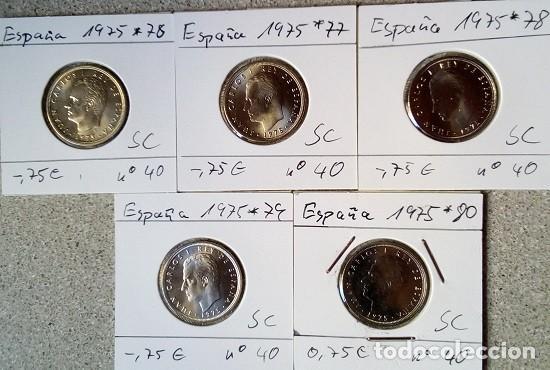 Monedas Franco: ESPAÑA - LOTE DE 5 PESETAS - 1975 * 76 HASTA 1975 * 80 - S/C - ENCARTONADA - CAT. Nº 40 - Foto 2 - 120968391