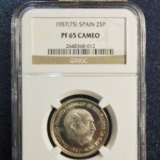 Monedas Franco: BELLISIMA MONEDA DE FRANCO 25 PESETAS DEL AÑO 1957 ESTRELLA 75.GIRADA.ESTUCHE GARANTIA NGC.LUJO.. Lote 121127895