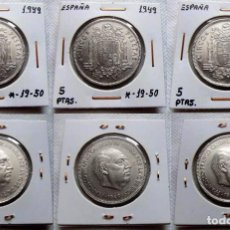 Monedas Franco: ESPAÑA - 3 X 5 PTAS.1949 - *19-50- AUTENTICAS 100% - MUY ESCASAS ASI - PRECIOSAS. Lote 124418847