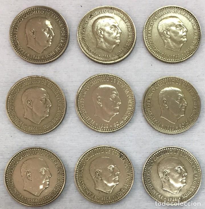 Monedas Franco: ESPAÑA - NUEVE MONEDAS DE UNA (1) PESETA ESTADO ESPAÑOL - AÑO 1966 TODAS LAS ESTRELLAS Km.796 - - Foto 2 - 124596947