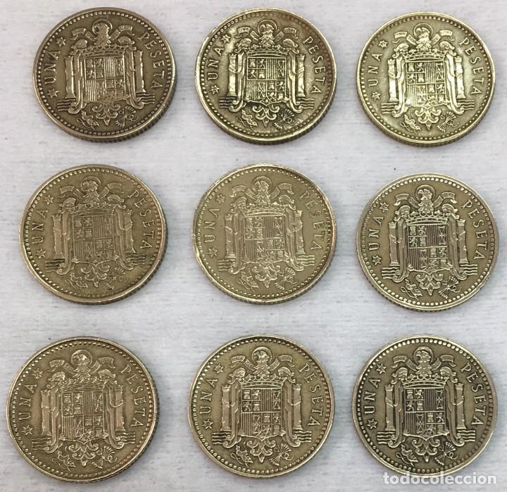Monedas Franco: ESPAÑA - NUEVE MONEDAS DE UNA (1) PESETA ESTADO ESPAÑOL - AÑO 1966 TODAS LAS ESTRELLAS Km.796 - - Foto 3 - 124596947