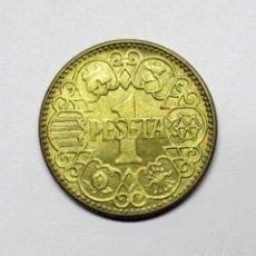 Monedas Franco: UNA PESETA DE 1944, CON RESTOS DE BRILLO ORIGINAL. EBC+/SC-. LOTE 1065. Lote 125027311