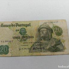 Monedas Franco: BILLETE VEINTE 20 ESCUDOS PORTUGAL - 27 JULIO 1971 GARCIA DE ORTA. Lote 127596299
