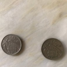 Monedas Franco: 2 MONEDA DE 50 PESETAS DE 1957 Y 58 ESTRELLA. Lote 128975767