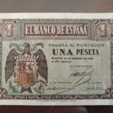 Monedas Franco: BILLETE DE 1 PESETA 28 DE FEBRERO 1938 SERIE D. Lote 130619162