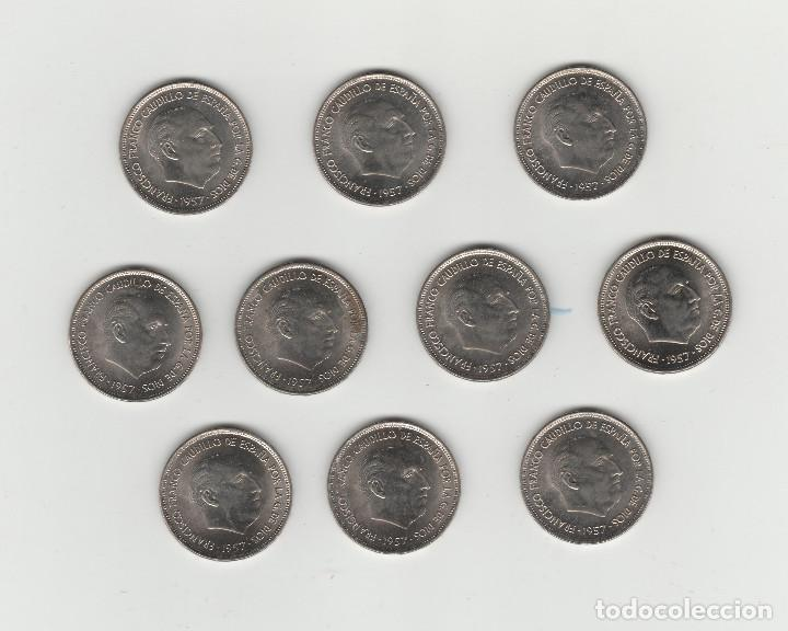 LOTE DE 10 MONEDAS DE 25 PESETAS-1957*70-SIN CIRCULAR (Numismática - España Modernas y Contemporáneas - Estado Español)