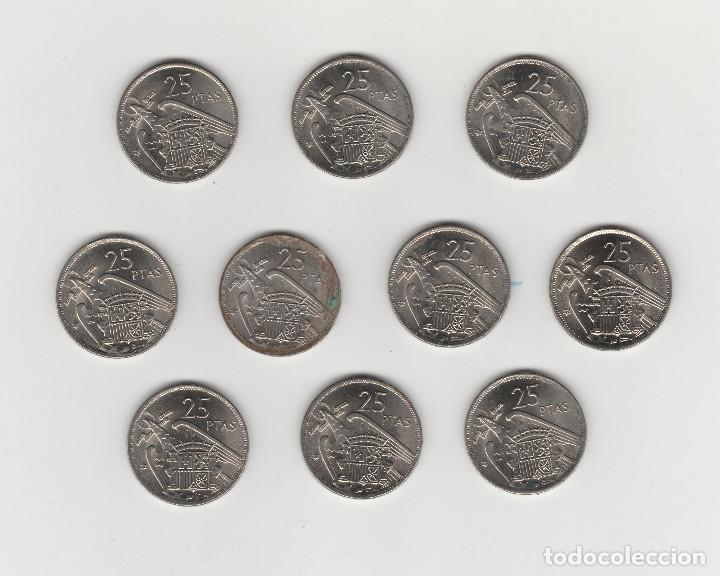 Monedas Franco: LOTE DE 10 MONEDAS DE 25 PESETAS-1957*70-SIN CIRCULAR - Foto 2 - 132310182