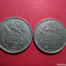 Monedas Franco: ESTADO ESPAÑOL. 50 PESETAS. 1957*60* VARIANTE DOS PLUMAS EN EL ALA. NORMAL Y VARIANTE.. Lote 132819347