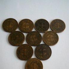 Monedas Franco: LOTE DE 10 MONEDAS DE 1 PESETA. 1944. Lote 133517541