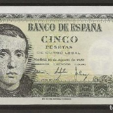 Monedas Franco: R43/ ESPAÑA BILLETE DE 5 PESETAS, 16 DE AGOSTO DE 1951. Lote 134857798