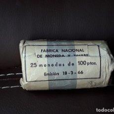 Monedas Franco: CARTUCHO ORIGINAL FNMT CON 25 MONEDAS DE 100 PESETAS DE PLATA DE 1966*19-67. Lote 134873183