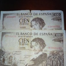 Monedas Franco: 2 BILLETES ESPAÑOLES-ESTADO ESPAÑOL 100 PESETAS 1965 (SERIE M Y I) . Lote 135429258