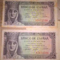 Monedas Franco: LOTE DE 2 BILLETES CORRELATIVOS. 5 PESETAS. 1943. SERIE A. Lote 137927114