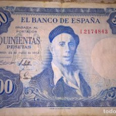 Monedas Franco: BILLETE 500 PESETAS 1954 SERIE I BUEN ESTADO. Lote 137927838