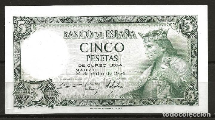 R60.BAUL_2/ ESPAÑA, BILLETE DE 5 PESETAS, SIN CIRCULAR, JULIO DE 1954 (Numismática - España Modernas y Contemporáneas - Estado Español)