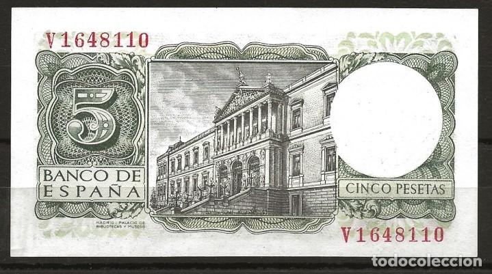 Monedas Franco: R60.BAUL_2/ ESPAÑA, BILLETE DE 5 PESETAS, SIN CIRCULAR, JULIO DE 1954 - Foto 2 - 138684198