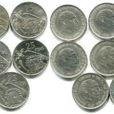 Monedas Franco: 25 PESETAS 11 MONEDA 1957-58-59-64-65.66-68-69-70-72-74-75 (S/C 65-69-70-74). Lote 139569630