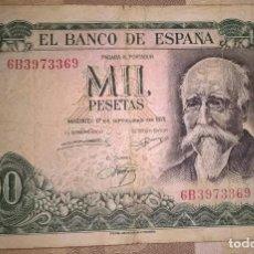 Monedas Franco: BILLETE 1000 PESETAS 1971 SERIE 6B ESPAÑA ALGO ARRUGADO. Lote 139717394