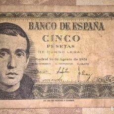 Monedas Franco: BILLETE 5 PESETAS 1951 BASTANTE USADO. SERIE 1L. Lote 155425590