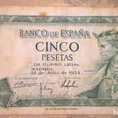 Monedas Franco: BILLETE 5 PESETAS 1954. SERIE I. CIRCULADO. Lote 140429674